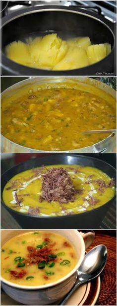 Aprenda como fazer um maravilhoso CALDO DE MANDIOCA...VEJA MODO DE PREPARO:Cozinhe a mandioca Acrescente no cozimento 2 tabletes de caldo de costela. Dê uma pré-fritada na calabresa junto com o bacon com um pouco de óleo Acrescente junto a ela a cebola e termine de fritar. #massas#torta#lanches#salgados#hamburgueres#lasanha#macarrao#pao#polenta##pizzadecalabresa#paodecalabresa sopa Confort Food, C'est Bon, Good Food, Food Porn, Food And Drink, Soup, Tasty, Favorite Recipes, Bacon