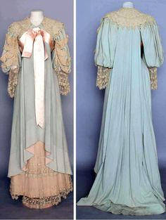 Morning gown ca. 1895.  Blue wool flannel with chemical lace trim, pink silk sash. Augusta Auctions