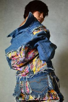 upcycled denim jacket and shorts/skirt All Jeans, Love Jeans, Recycled Fashion, Recycled Denim, Jean Rapiécé, Denim Fashion, New Fashion, Estilo Denim, Mode Mantel
