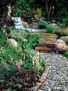 Landscaping Ideas With Pebble Stones: this one is nicely done, I like it for those who like sunbathing.