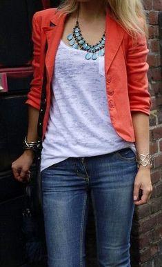 Casual blazer, jeans, statement necklace