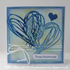 It was my sister's wedding anniversary at the weekend so I made her a card using the wonderful heart from Tim Holtz Scribbles and Splat...