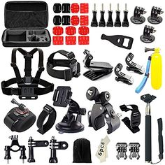 Iextreme 48in1 Action Camera Accessories Kits for Gopro 4321 SJ4000 SJ5000 Accessory Bundles with Chest Harness MountSuction Cup MountSelfie StickFolating Hand Grip -- Continue to the product at the image link.