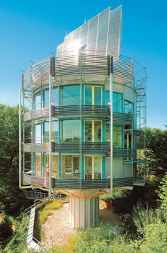 Heliotrope Rotating House Yes, this house does rotate, but it's not exactly a constant spin. The idea from German architect Rolf Disch is designed to make the most of the sunlight during the winter and summer. Entirely solar powered, the Heliotrope Rotating House spins to catch the rays most efficiently throughout the year.