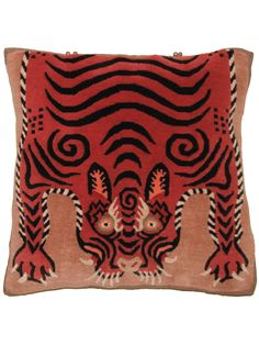 Lunging Tiger beige | Unique rug pillow used for meditation or decoration. Designed in SoHo, Handwoven in the Himalayas #handmade | Tibetan #pillow | @RaloTibetanRugs