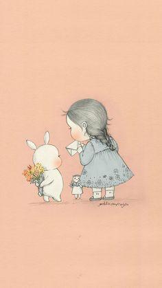 오늘은 어제보다 더 많이 사랑해! Today, I love you more than yesterday! Sweet Drawings, Cute Disney Drawings, Korean Illustration, Illustration Girl, Pencil Art Drawings, Art Sketches, Bunny Art, Digital Art Girl, Art Sketchbook