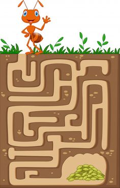 Help ant to find way to food grains in an underground maze Cutting Activities For Kids, Summer Preschool Activities, Insect Activities, Mazes For Kids, Preschool Math, Teaching Kids, Ant Art, Kids Math Worksheets, Animal Projects