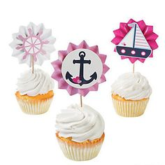 Nautical Girl Fan Food Picks Party Supplies Canada - Open A Party Baby Shower Favors Girl, Baby Shower Party Supplies, Baby Shower Parties, Nautical Cupcake, Nautical Favors, Nautical Theme, Nautical Baby, 1st Birthday Girls, Birthday Party Themes