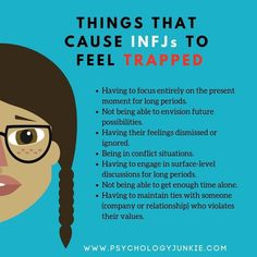 INFJs feel trapped when they can't think about the future, when they are confined to this moment. These types like to imagine and explore potential and possibilities, they like to anticipate and predict. Infj Mbti, Intj And Infj, Infj Traits, Esfj, Infj Personality, Myers Briggs Infj, Advocate Personality Type, Myer Briggs, Introvert