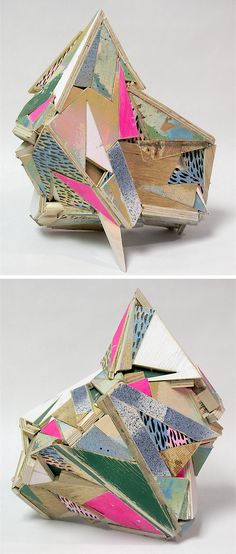 138 (Broken Triangle) i - sculptural assemblage by aaron s moran for If you resist this! collaboration with writer Taryn Hubbard | Reclaimed wood, acrylic, primer, india ink, cast cement 14 x 10 x 13 #sculpture #recycled