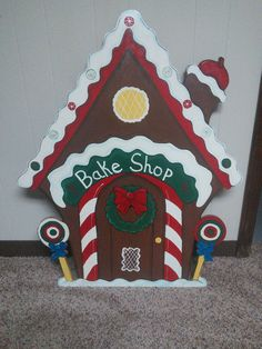 Christmas 3 Piece Gingerbread Bake Shop Wood Outdoor Yard Art, Lawn Decoration
