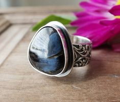 CUSTOM SIZE: Pietersite Ring, Chatoyant Blue, Cocktail Ring, Custom Size, One of a Kind, Rustic Ring, Artisan Ring, Wide Victorian Band