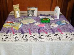 """Baby Shower Game: """"The Price is Right"""" - Babies come with a whole lot of stuff. See who's best at guessing the cost of it all. (This version actually has the items displayed, not just a paper list.)"""