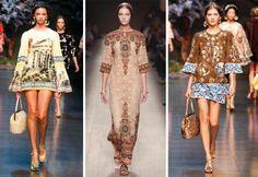 古希臘的神廟、古羅馬的歌劇,這個春季,Dolce & Gabbana和Valentino開啟了探尋歐洲文化的華美復古時尚之旅。華麗的巴洛克風格印花,大片金色的運用,創造出鮮明的戲劇效果,古歐羅巴洲神秘又華麗的氣息散落在衣袖裙襬之間。