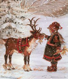 Девочка, олень и снегопад - анимационные картинки и gif открытки