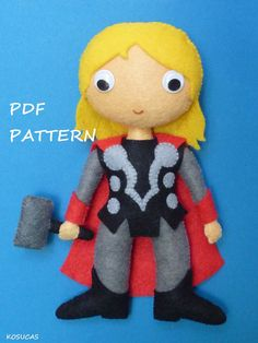 PDF patter to make a felt Thor. by Kosucas on Etsy