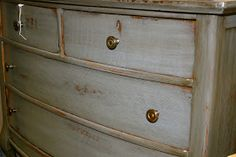 DIY:  Distressed Antique Dresser Tutorial - using paint & stain. This is an easy finish & a great tutorial!