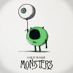Mike Wazowski // Tim Burton Style // Monster's Inc Tim Burton Stil, Tim Burton Kunst, Disney Drawings, Cute Drawings, Scary Drawings, Tim Burton Zeichnungen, Desenhos Tim Burton, Arte Horror, Monsters Inc