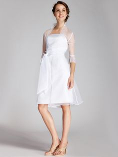 2pc Classic Satin Little White Dress - for rehearsal dinner or ride to FL?