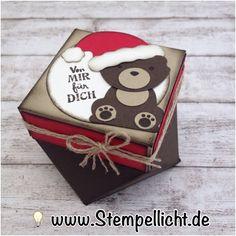 Stempellicht: Weihnachtliche Diamantbox mit Bär aus Fuchsstanze und Weihnachtsmütze