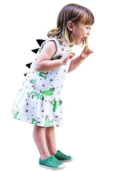 New Infant Baby Girls Dress Cartoon Dinosaur Striped Print Dorsal Fin Outfits Dinosaur Outfit, Girl Dinosaur, Cartoon Dinosaur, Baby Summer Dresses, Baby Girl Dresses, Summer Girls, Tutus For Girls, Baby Girls, Toddler Outfits