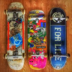 Battle axes! For my demanding senior skating needs  #gravityskateboards #streetplantbrand #elementskateboards #independenttrucks #boneswheels #t #fb