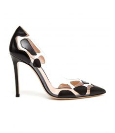 Spotted Leather and Perspex Pointed High Heels