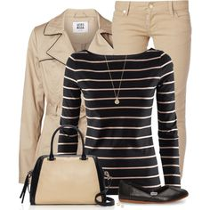 A fashion look from January 2015 featuring striped boatneck shirt, trench coat and skinny jeans. Browse and shop related looks.
