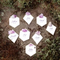 Brides: Geometric Escort Cards with Amethyst Stones. Upgrade typical escort cards by choosing a variety of angular shapes. These pretty options from Vellum & Vogue are even accented with an amethyst stone!