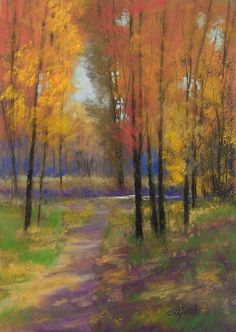 "Paula Ann Ford, Fine Artist: ©2012 Paula Ann Ford, Fall Colors, Soft Pastels on Ampersand Pastelbord, 7""x5"""
