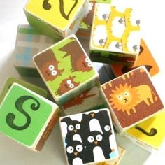 ZOO ALPHABET WOODEN BABY BLOCKS: Cute alphabet animal blocks. by jami
