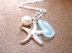Starfish, sea glass and pearl necklace
