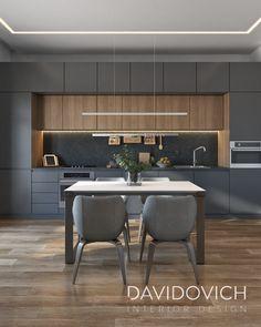 French quarter Apartment in Kyiv, Ukraine on Behance Black Kitchen Decor, Kitchen Room Design, Kitchen Cabinet Design, Modern Kitchen Design, Interior Design Kitchen, Modern Kitchen Interiors, Modern Kitchen Cabinets, Elegant Kitchens, Luxury Kitchens