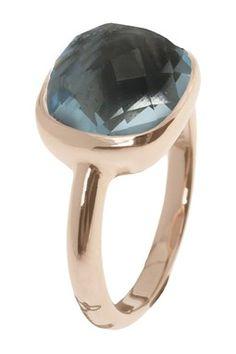 Milor Jewelry Square Blue Topaz Ring