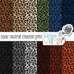 Neutral Cheetah Print Digital Paper – leopard scrapbook paper in grey, brown, tan, navy & olive - printable paper - commercial use