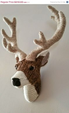 ON SALE Handmade Faux Taxidermy - Deer Head Wall Art - Paper Mache and Recycled Materials