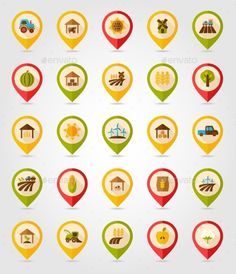Farm Field Mapping Icons (Vector EPS, CS, agriculture, barn, corncob, cowshed, farm, farmer, field, flat, flour, garden, harvest, harvester, icon, location, map, mill, nature, navigation, organic, pickup, pin, pointer, position, shed, spikelet, tractor, vector, wheat, wind, windmill)