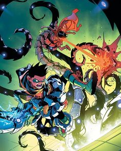 Robin has a new member in mind for Teen Titans and it's Superboy! later, Super Sons visits another dimension to fight monster maker Kraklow! Comic Book Artists, Comic Artist, Super Sons, Dc Universe Rebirth, Superhero Images, Jim Lee Art, Marvel And Dc Characters, Robin, Hq Marvel