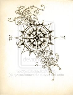 compass tattoo sketch | deviantART: More Like True North Compass Tattoo by ~DesertDahlia