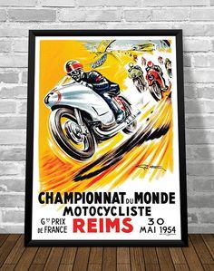 Affiche CHAMPIONNAT du MONDE Motocycliste REIMS 1954 - Garage Atelier Vintage - Limited Edition