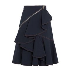 Indigo mid-weight denim Ruffled, wrap-around zip detail, fully lined Concealed zip fastening along side cotton, elastane Dry clean Tolle Auswahl bei divafashion. Mode Outfits, Skirt Outfits, Skirt Pants, Dress Skirt, Skirt Suit, Denim Skirt, Jupe Short, Indigo, Paris Shopping