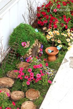 When this blogger noticed one of her planter boxes wasn't getting enough sunlight, she transformed it into this planter box fairy garden.