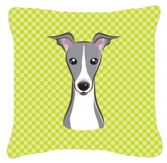 Checkerboard Lime Green Italian Greyhound Canvas Fabric Decorative Pillow BB1298PW1414