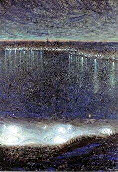 Jansson, Eugene (1862-1915) - 1899 Dawn over Riddarfjarden (National Museum, Stockholm, Sweden) Expressionism