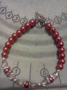 Clear hearts & red pearls bracelet