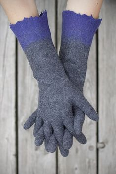 Items similar to Felted gloves long grey gloves winter mittens purpple color block gloves Christmas gift seamless gloves organic gloves - Handmade to order on Etsy Hand Gloves, Mitten Gloves, Mittens, Safety Gloves, Grey Gloves, Nuno Felting, Etsy Handmade, Wool Felt, Christmas Gifts