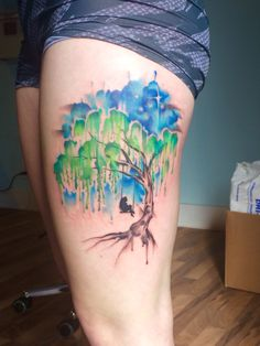 My sisters new tattoo! Beautifully done by Lindsay Carter at Opal Ink in Portland. Gorgeous watercolor willow tree.
