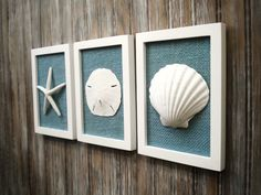 Cottage Chic Set of Beach Wall Art, Sea Shells Home Decor, Beach House Wall Decor, Sea Shell Art, Coastal Art, Pure White&Ocean Blue Burlap