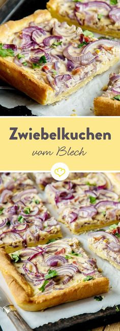 Der Zwiebelkuchen vom Blech präsentiert sich nicht nur in schickem Rot, sondern ist dank Quark-Öl-Teig besonders fix gemacht. Pizza Recipes, Grilling Recipes, Chicken Recipes, Snacks Recipes, Drink Recipes, Healthy Recipes, Snacks Für Party, Finger Foods, Cravings