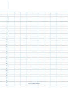 Numbered lined paper